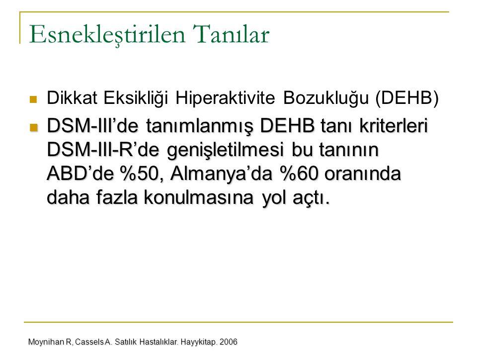 Esnekleştirilen Tanılar Dikkat Eksikliği Hiperaktivite Bozukluğu (DEHB) DSM-III'de tanımlanmış DEHB tanı kriterleri DSM-III-R'de genişletilmesi bu tan