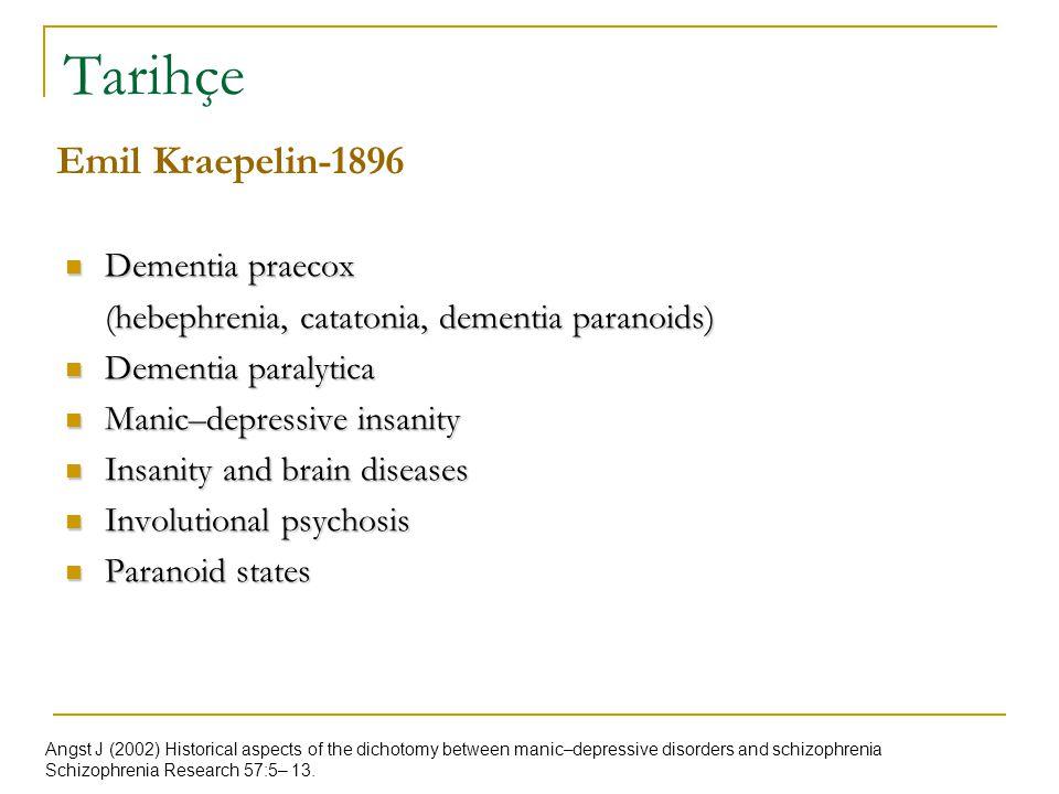 Tarihçe Dementia praecox Dementia praecox (hebephrenia, catatonia, dementia paranoids) Dementia paralytica Dementia paralytica Manic–depressive insani