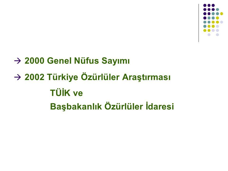  2000 Genel Nüfus Sayımı  2002 Türkiye Özürlüler Araştırması TÜİK ve Başbakanlık Özürlüler İdaresi