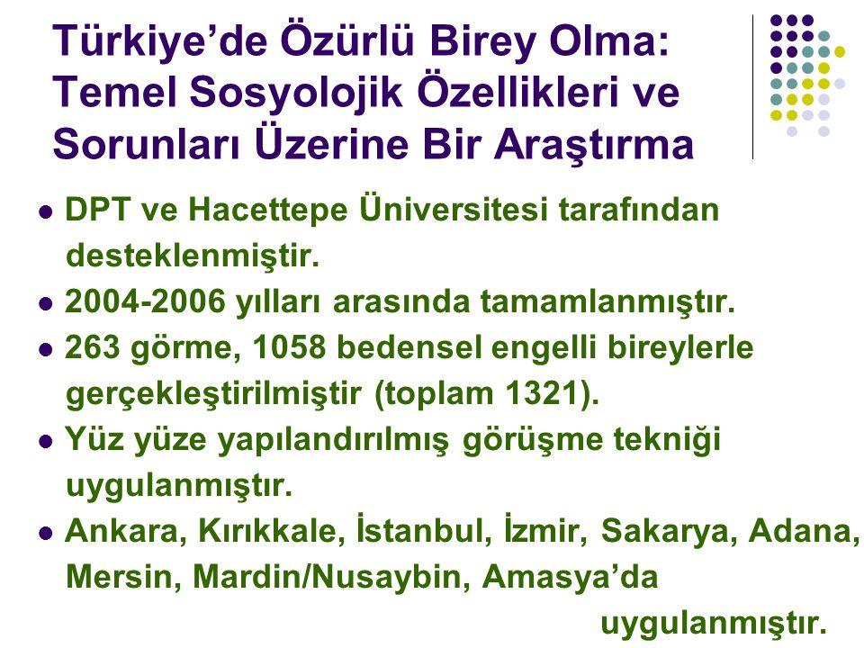 Türkiye'de Özürlü Birey Olma: Temel Sosyolojik Özellikleri ve Sorunları Üzerine Bir Araştırma DPT ve Hacettepe Üniversitesi tarafından desteklenmiştir