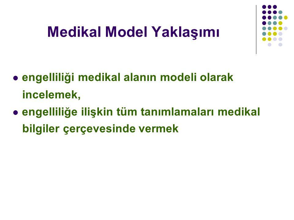 Medikal Model Yaklaşımı engelliliği medikal alanın modeli olarak incelemek, engelliliğe ilişkin tüm tanımlamaları medikal bilgiler çerçevesinde vermek