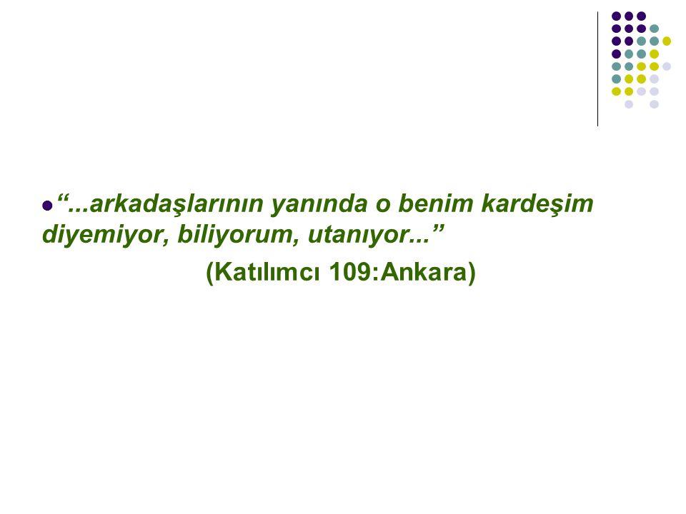 """""""...arkadaşlarının yanında o benim kardeşim diyemiyor, biliyorum, utanıyor..."""" (Katılımcı 109:Ankara)"""