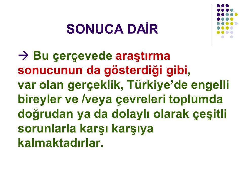 SONUCA DAİR  Bu çerçevede araştırma sonucunun da gösterdiği gibi, var olan gerçeklik, Türkiye'de engelli bireyler ve /veya çevreleri toplumda doğruda