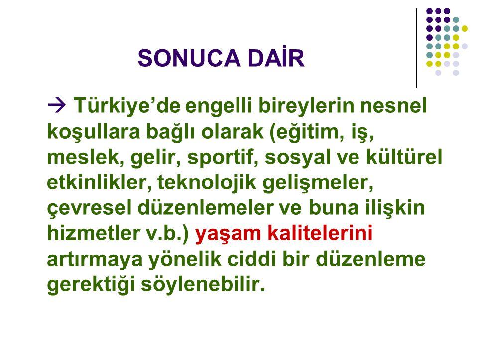 SONUCA DAİR  Türkiye'de engelli bireylerin nesnel koşullara bağlı olarak (eğitim, iş, meslek, gelir, sportif, sosyal ve kültürel etkinlikler, teknolo
