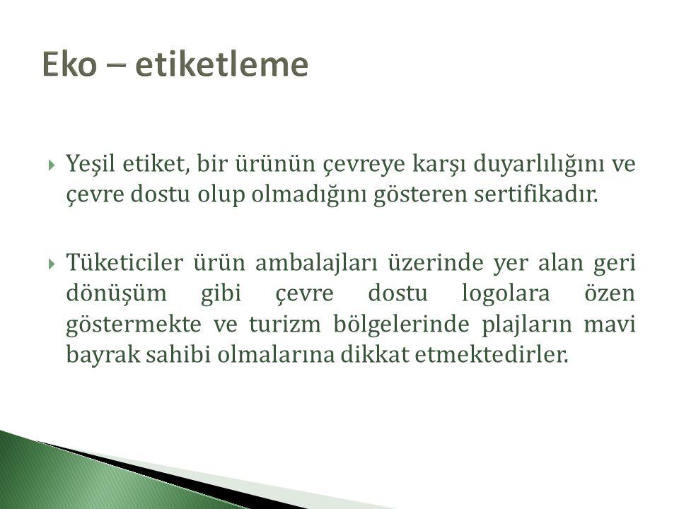  Yeşil etiket, bir ürünün çevreye karşı duyarlılığını ve çevre dostu olup olmadığını gösteren sertifikadır.