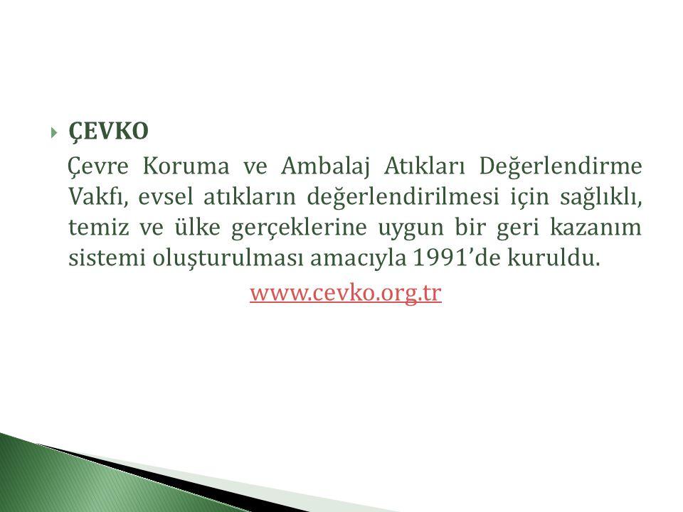  ÇEVKO Çevre Koruma ve Ambalaj Atıkları Değerlendirme Vakfı, evsel atıkların değerlendirilmesi için sağlıklı, temiz ve ülke gerçeklerine uygun bir geri kazanım sistemi oluşturulması amacıyla 1991'de kuruldu.