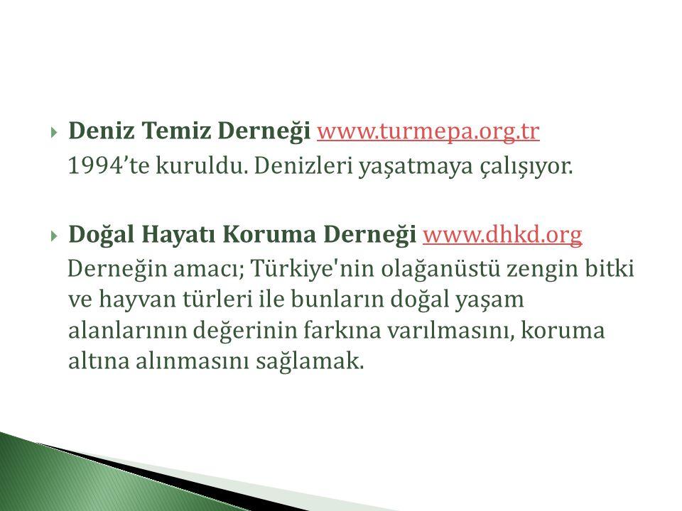  Deniz Temiz Derneği www.turmepa.org.trwww.turmepa.org.tr 1994'te kuruldu.