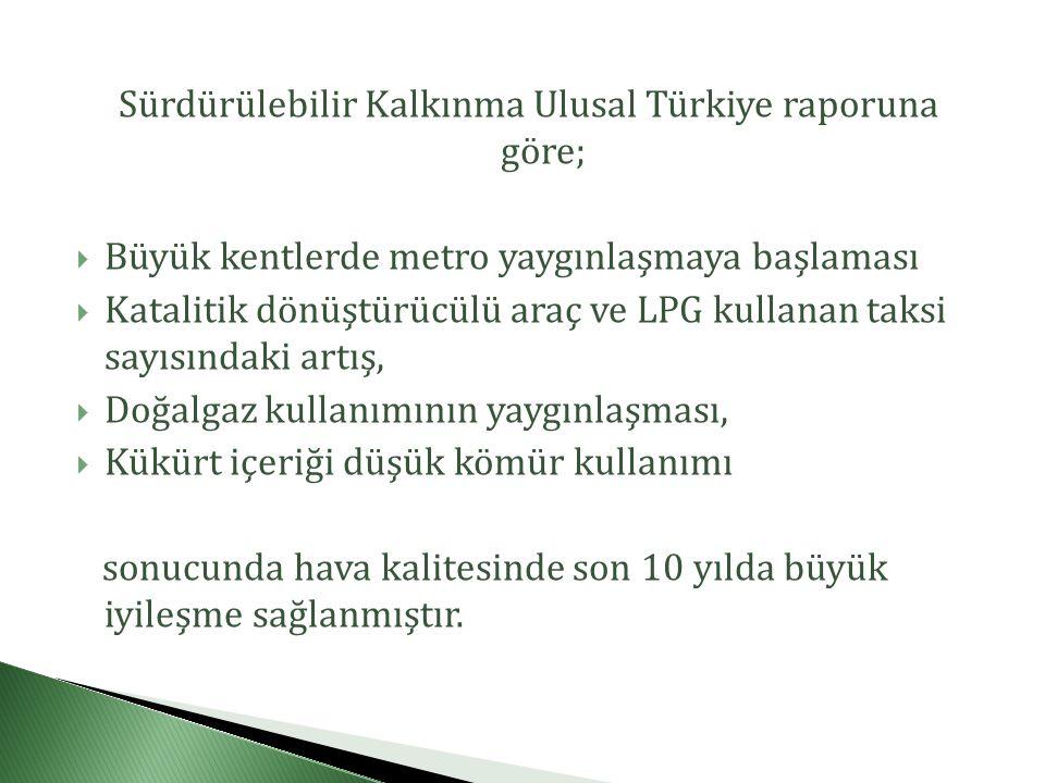 Sürdürülebilir Kalkınma Ulusal Türkiye raporuna göre;  Büyük kentlerde metro yaygınlaşmaya başlaması  Katalitik dönüştürücülü araç ve LPG kullanan taksi sayısındaki artış,  Doğalgaz kullanımının yaygınlaşması,  Kükürt içeriği düşük kömür kullanımı sonucunda hava kalitesinde son 10 yılda büyük iyileşme sağlanmıştır.