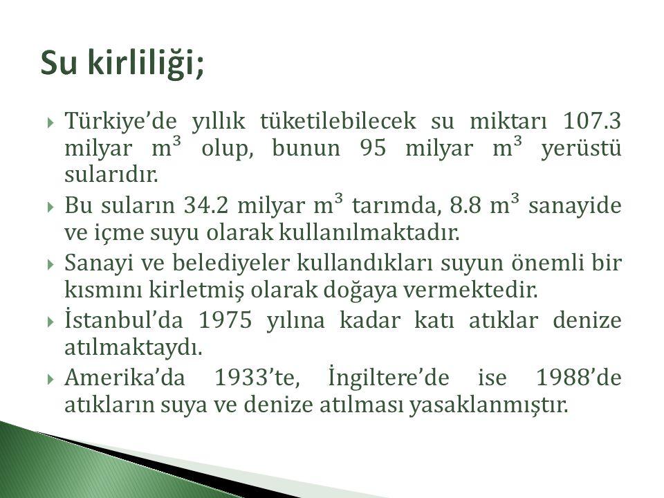  Türkiye'de yıllık tüketilebilecek su miktarı 107.3 milyar m³ olup, bunun 95 milyar m³ yerüstü sularıdır.