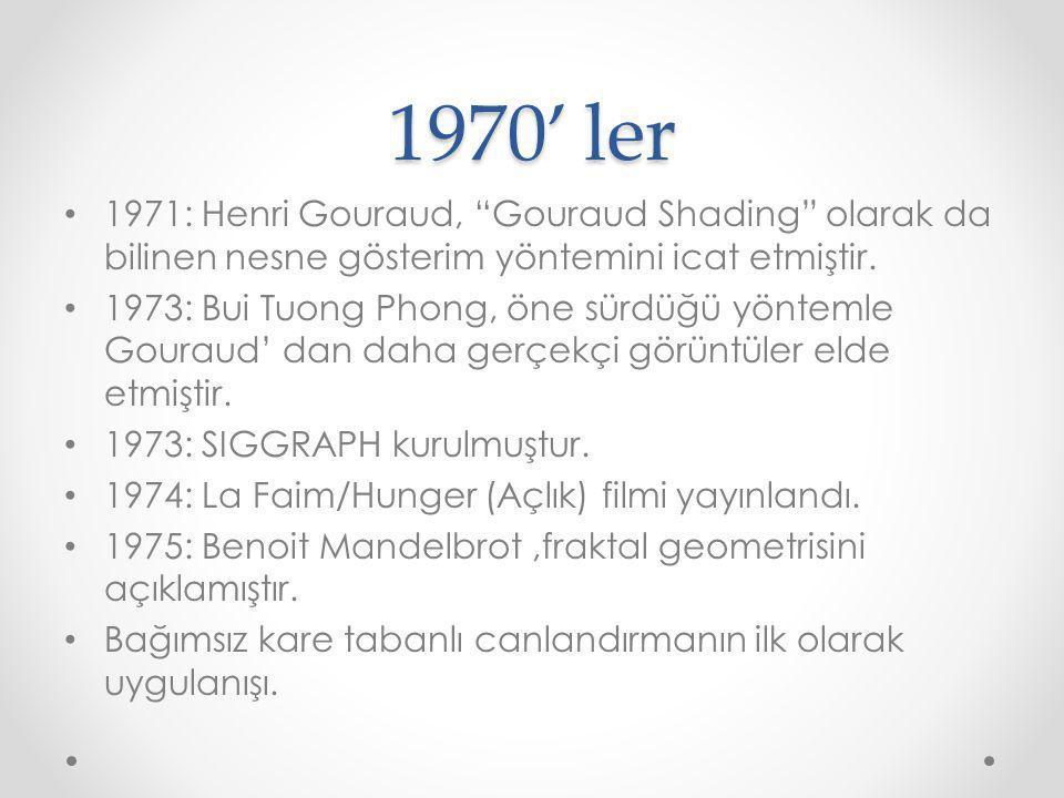 """1970' ler 1971: Henri Gouraud, """"Gouraud Shading"""" olarak da bilinen nesne gösterim yöntemini icat etmiştir. 1973: Bui Tuong Phong, öne sürdüğü yöntemle"""