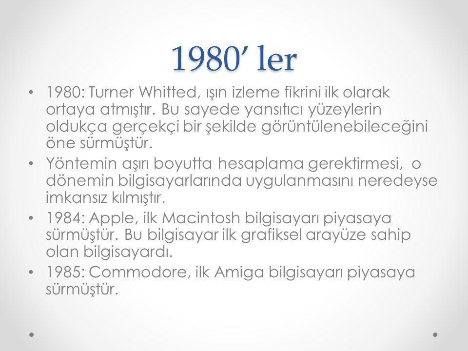 1980' ler 1980: Turner Whitted, ışın izleme fikrini ilk olarak ortaya atmıştır. Bu sayede yansıtıcı yüzeylerin oldukça gerçekçi bir şekilde görüntülen