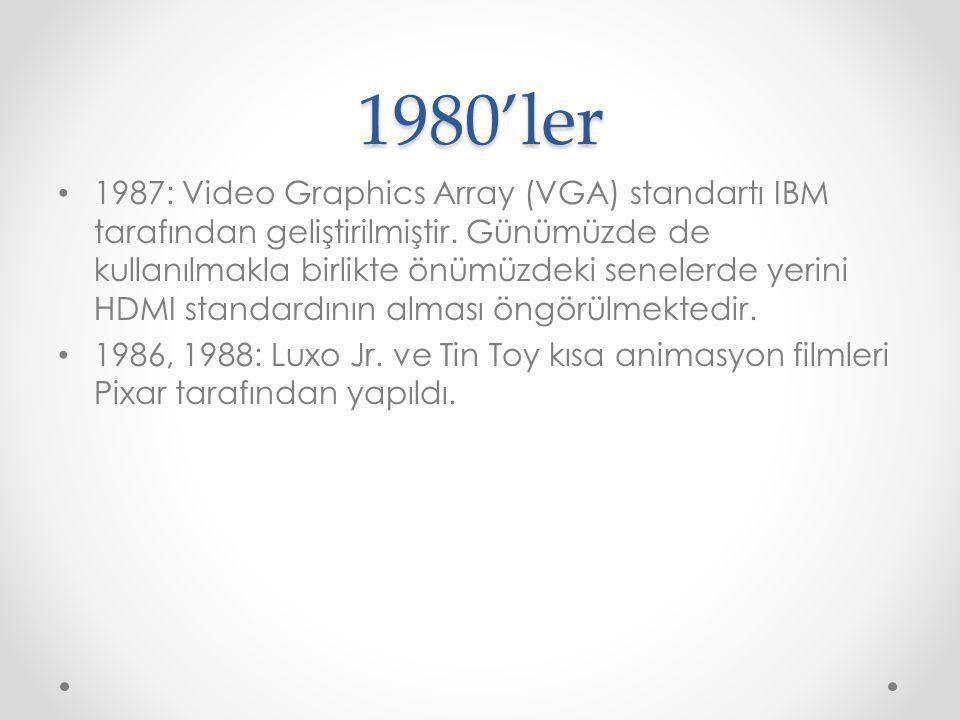 1980'ler 1987: Video Graphics Array (VGA) standartı IBM tarafından geliştirilmiştir. Günümüzde de kullanılmakla birlikte önümüzdeki senelerde yerini H