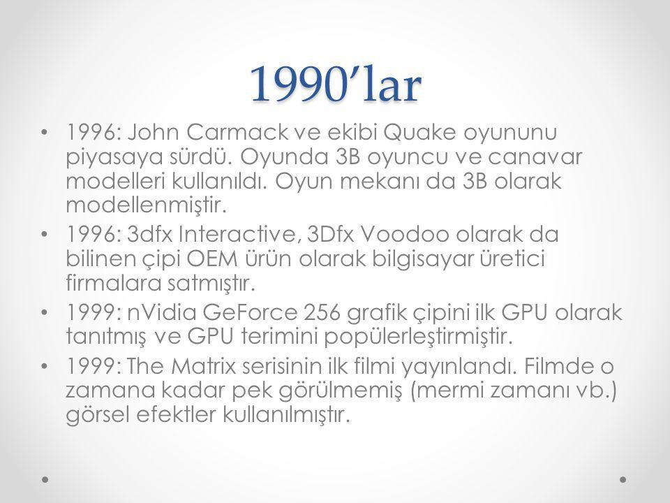 1990'lar 1996: John Carmack ve ekibi Quake oyununu piyasaya sürdü. Oyunda 3B oyuncu ve canavar modelleri kullanıldı. Oyun mekanı da 3B olarak modellen