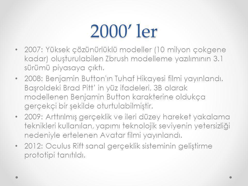 2000' ler 2007: Yüksek çözünürlüklü modeller (10 milyon çokgene kadar) oluşturulabilen Zbrush modelleme yazılımının 3.1 sürümü piyasaya çıktı. 2008: B