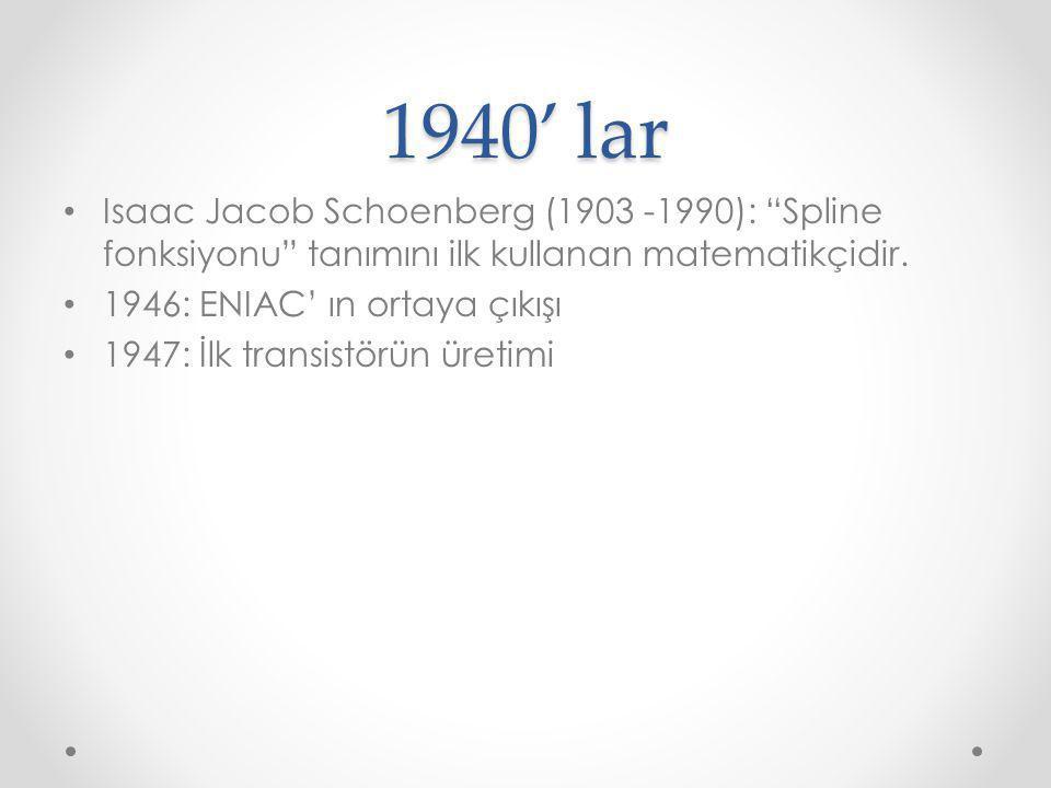 """1940' lar Isaac Jacob Schoenberg (1903 -1990): """"Spline fonksiyonu"""" tanımını ilk kullanan matematikçidir. 1946: ENIAC' ın ortaya çıkışı 1947: İlk trans"""