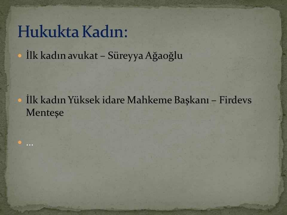 İlk kadın çöpçü – Elif Yazgandır İlk kadın büyükelçi – Filiz Dinçmen Türk kadınına seçme ve seçilme hakkı verilmesi konusundaki öncü Prof.