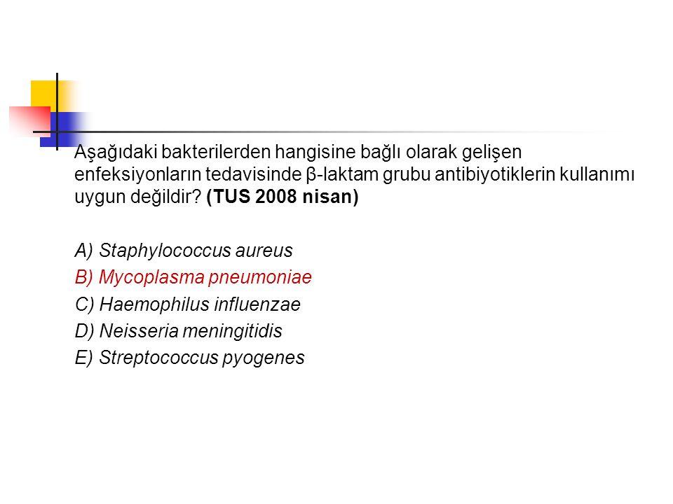 Aşağıdaki bakterilerden hangisine bağlı olarak gelişen enfeksiyonların tedavisinde β-laktam grubu antibiyotiklerin kullanımı uygun değildir? (TUS 2008