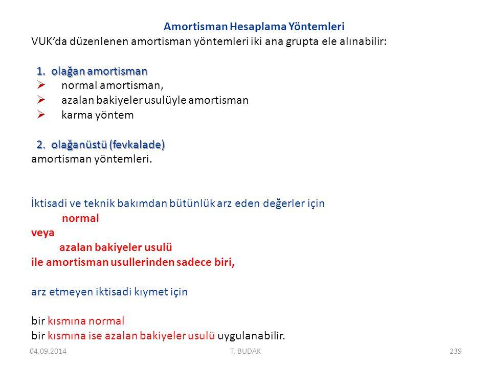 Amortisman Hesaplama Yöntemleri VUK'da düzenlenen amortisman yöntemleri iki ana grupta ele alınabilir: 1.