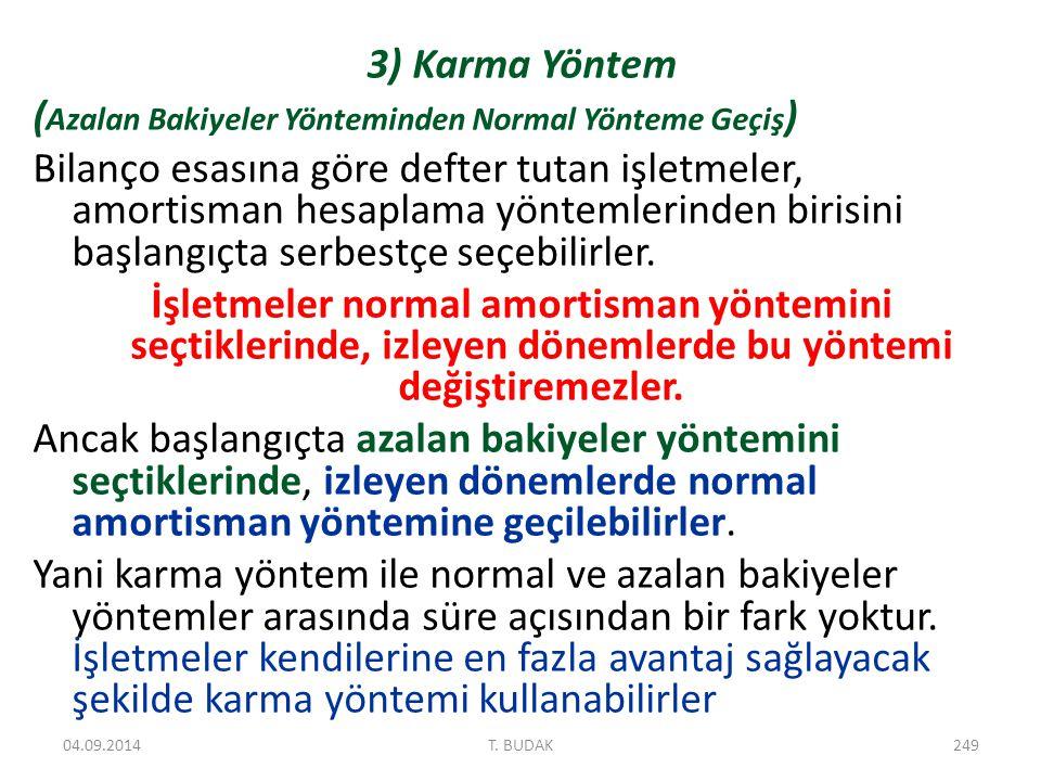 3) Karma Yöntem ( Azalan Bakiyeler Yönteminden Normal Yönteme Geçiş ) Bilanço esasına göre defter tutan işletmeler, amortisman hesaplama yöntemlerinden birisini başlangıçta serbestçe seçebilirler.
