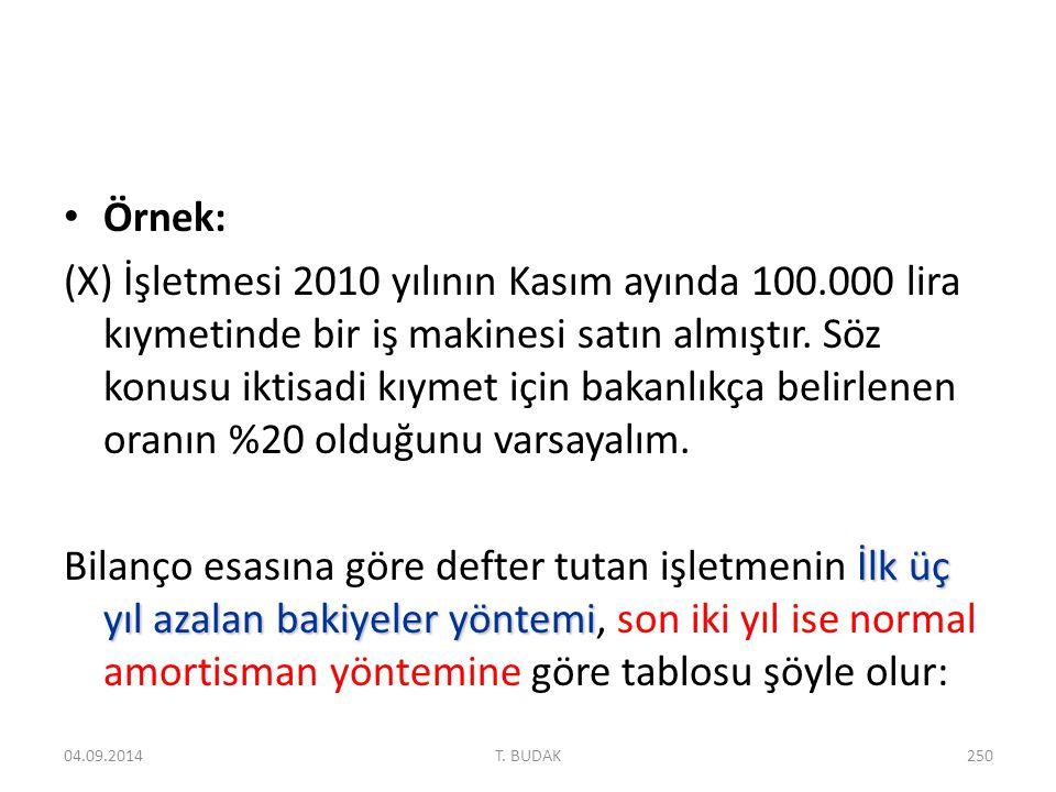 Örnek: (X) İşletmesi 2010 yılının Kasım ayında 100.000 lira kıymetinde bir iş makinesi satın almıştır.