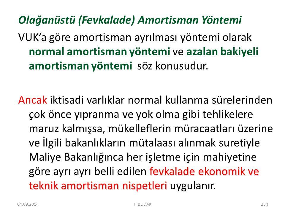 Olağanüstü (Fevkalade) Amortisman Yöntemi VUK'a göre amortisman ayrılması yöntemi olarak normal amortisman yöntemi ve azalan bakiyeli amortisman yöntemi söz konusudur.