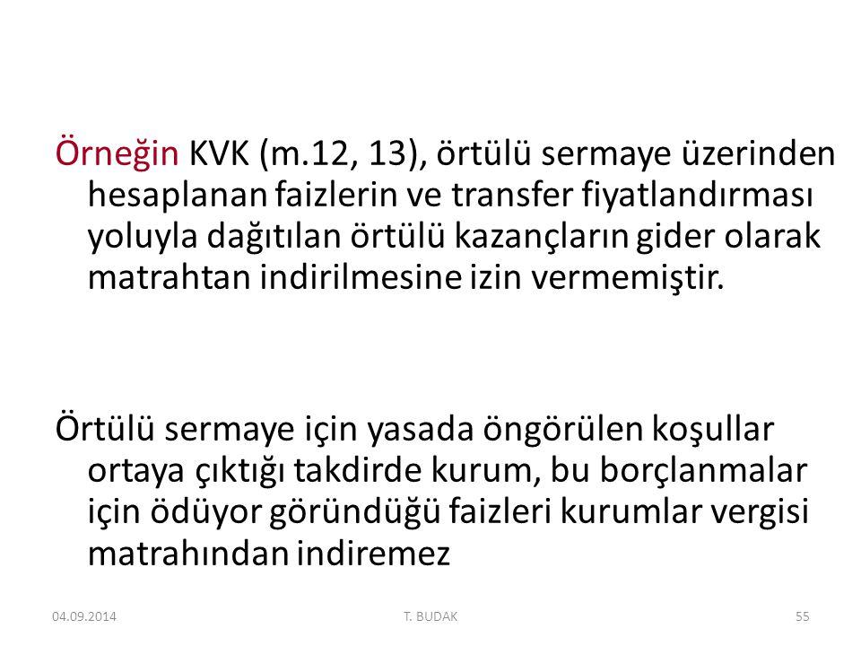 Örneğin KVK (m.12, 13), örtülü sermaye üzerinden hesaplanan faizlerin ve transfer fiyatlandırması yoluyla dağıtılan örtülü kazançların gider olarak matrahtan indirilmesine izin vermemiştir.