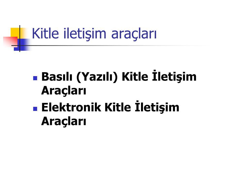 Kitle iletişim araçları Basılı (Yazılı) Kitle İletişim Araçları Elektronik Kitle İletişim Araçları