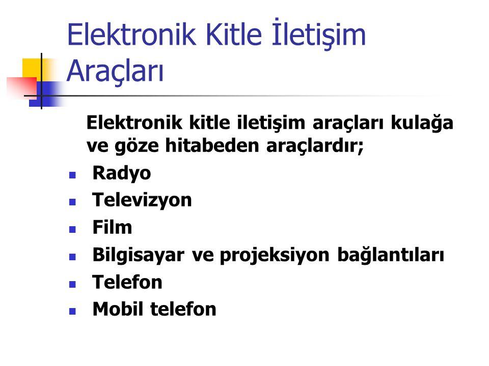 Elektronik Kitle İletişim Araçları Elektronik kitle iletişim araçları kulağa ve göze hitabeden araçlardır; Radyo Televizyon Film Bilgisayar ve projeksiyon bağlantıları Telefon Mobil telefon