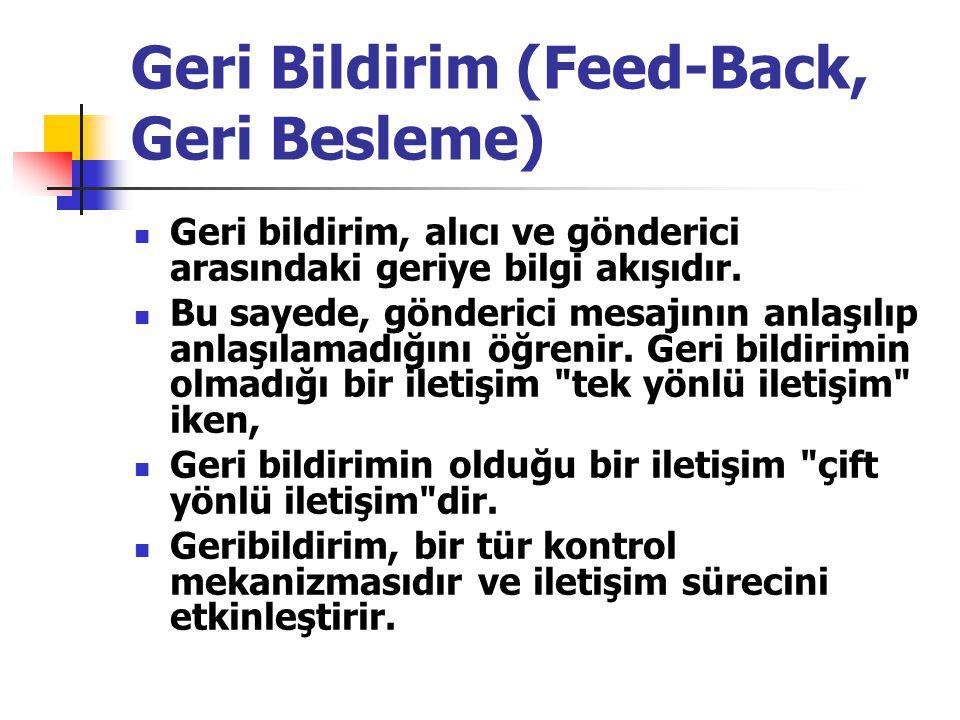 Geri Bildirim (Feed-Back, Geri Besleme) Geri bildirim, alıcı ve gönderici arasındaki geriye bilgi akışıdır.