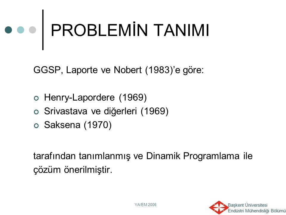 Başkent Üniversitesi Endüstri Mühendisliği Bölümü YA/EM 2006 GGSP, Laporte ve Nobert (1983)'e göre: Henry-Lapordere (1969) Srivastava ve diğerleri (19
