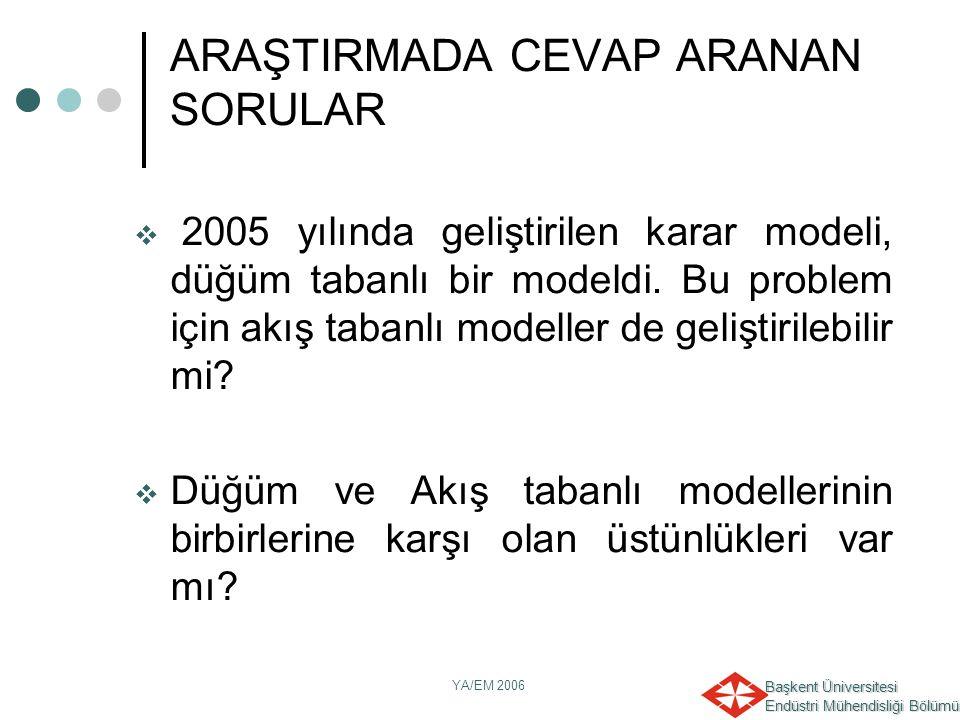 Başkent Üniversitesi Endüstri Mühendisliği Bölümü YA/EM 2006 ARAŞTIRMADA CEVAP ARANAN SORULAR  2005 yılında geliştirilen karar modeli, düğüm tabanlı