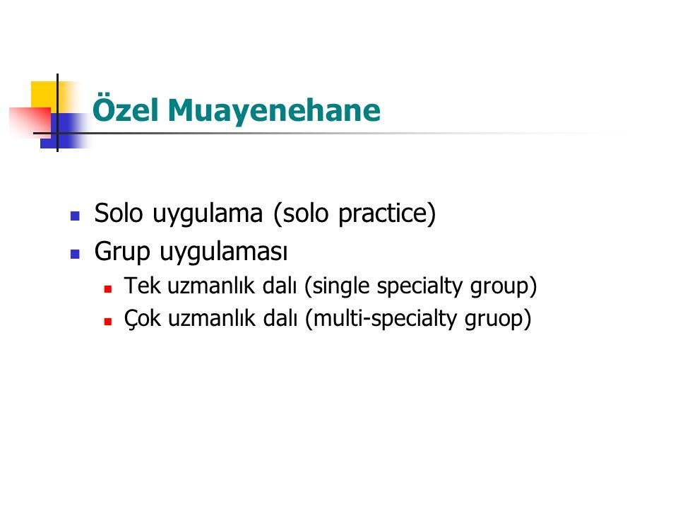Özel Muayenehane Solo uygulama (solo practice) Grup uygulaması Tek uzmanlık dalı (single specialty group) Çok uzmanlık dalı (multi-specialty gruop)