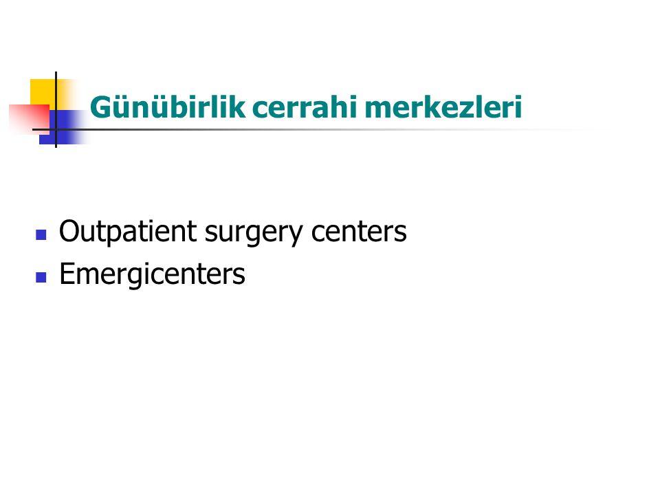 Günübirlik cerrahi merkezleri Outpatient surgery centers Emergicenters
