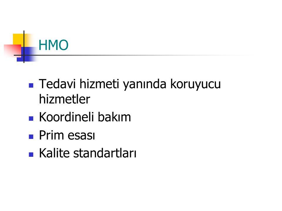 HMO Tedavi hizmeti yanında koruyucu hizmetler Koordineli bakım Prim esası Kalite standartları