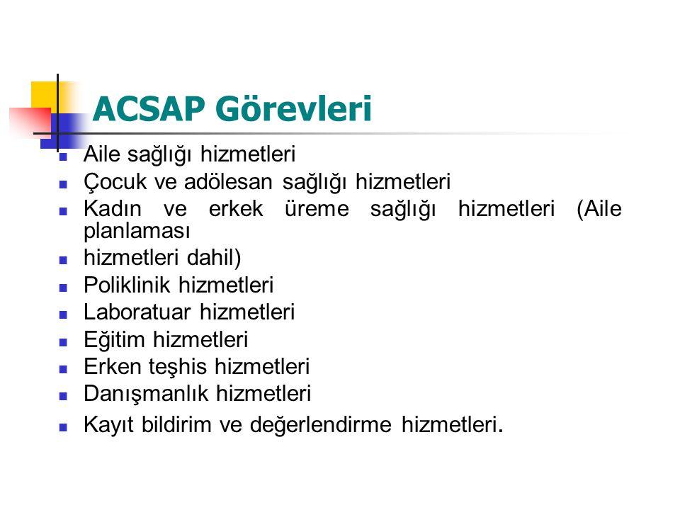 ACSAP Görevleri Aile sağlığı hizmetleri Çocuk ve adölesan sağlığı hizmetleri Kadın ve erkek üreme sağlığı hizmetleri (Aile planlaması hizmetleri dahil