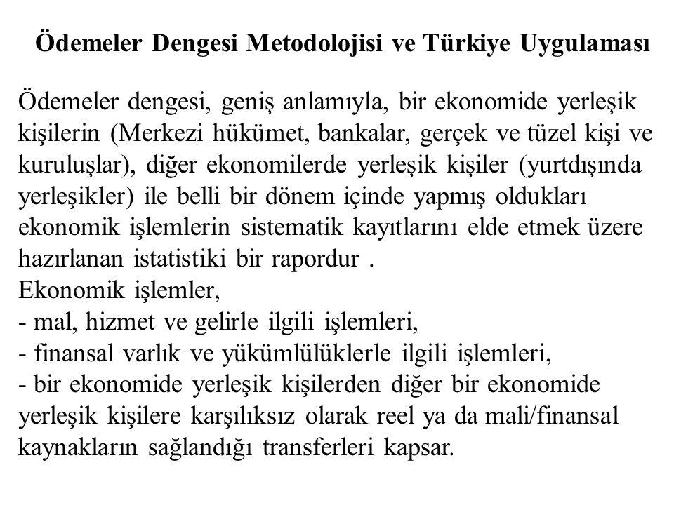 Ödemeler Dengesi Metodolojisi ve Türkiye Uygulaması Ödemeler dengesi, geniş anlamıyla, bir ekonomide yerleşik kişilerin (Merkezi hükümet, bankalar, ge