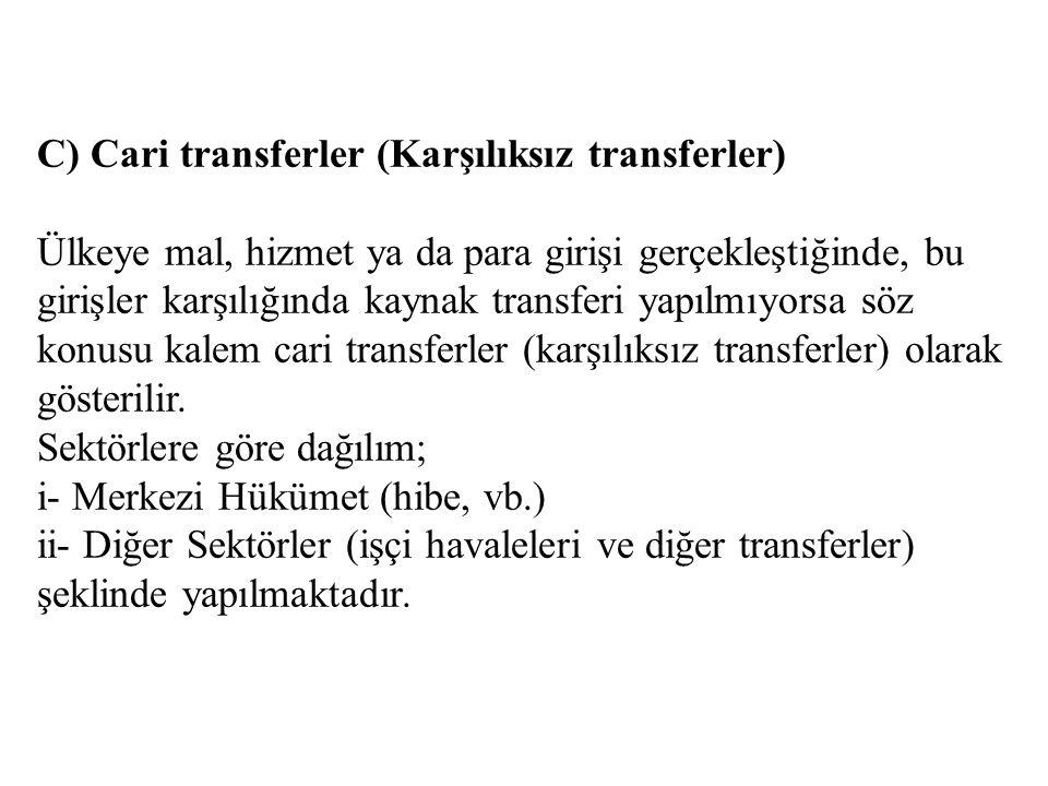 C) Cari transferler (Karşılıksız transferler) Ülkeye mal, hizmet ya da para girişi gerçekleştiğinde, bu girişler karşılığında kaynak transferi yapılmı