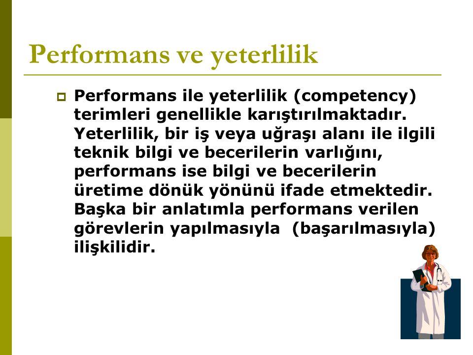 Performans ve yeterlilik  Performans ile yeterlilik (competency) terimleri genellikle karıştırılmaktadır. Yeterlilik, bir iş veya uğraşı alanı ile il
