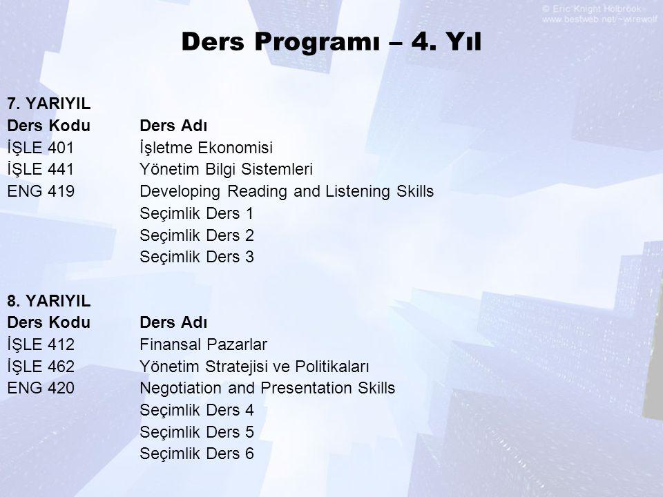 Ders Programı – 4. Yıl 7. YARIYIL Ders KoduDers Adı İŞLE 401İşletme Ekonomisi İŞLE 441Yönetim Bilgi Sistemleri ENG 419Developing Reading and Listening
