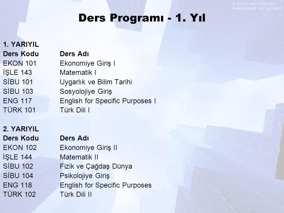 Ders Programı - 1.Yıl 1.