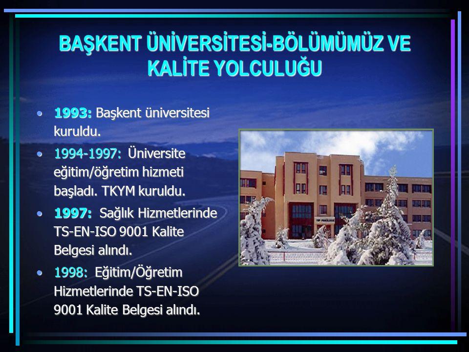 BAŞKENT ÜNİVERSİTESİ-BÖLÜMÜMÜZ VE KALİTE YOLCULUĞU 1993: Başkent üniversitesi kuruldu.1993: Başkent üniversitesi kuruldu. 1994-1997: Üniversite eğitim