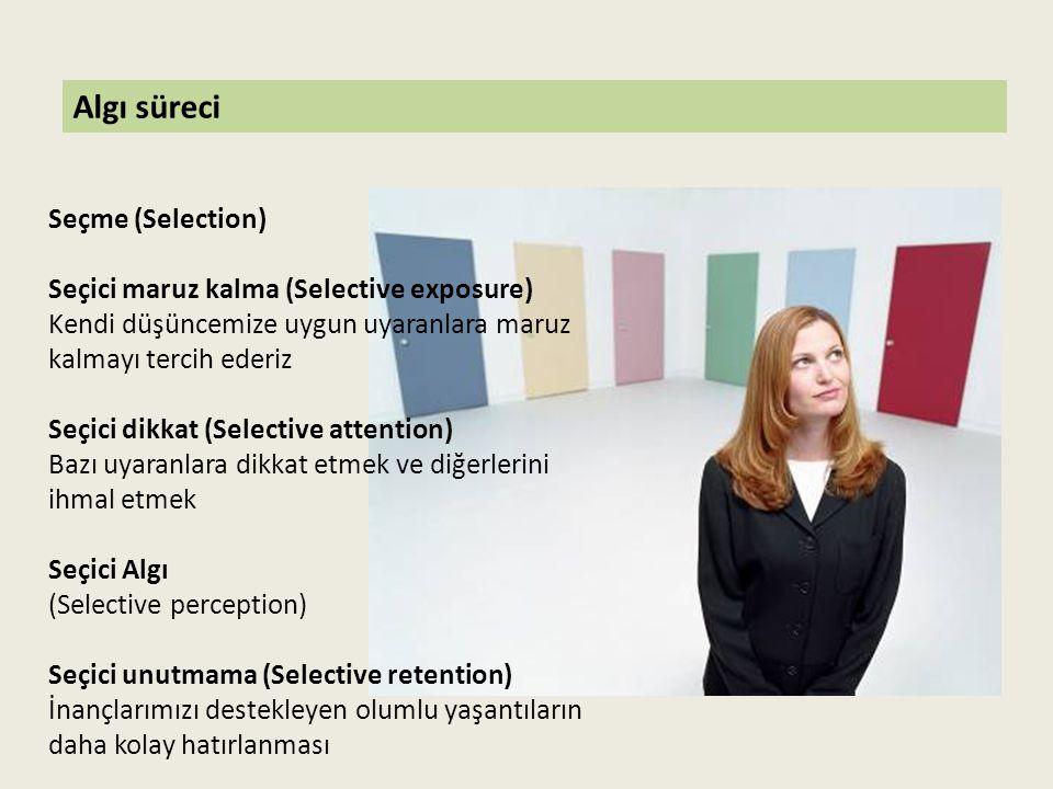 Algı süreci Organizasyon Gestalt Kuralları Şekil-Zemin (Figure and ground) Tamamlama(Closure) Yakınlık (Proximity) Benzerlik (Similarity)