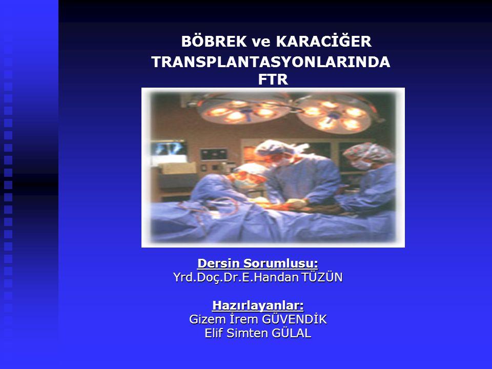 İçerik: Böbrekler ve Görevleri Böbrekler ve Görevleri Son Dönem Böbrek Yetersizliği, Nedenleri, Tedavi Seçenekleri Son Dönem Böbrek Yetersizliği, Nedenleri, Tedavi Seçenekleri Böbrek Transplantasyon Ameliyatı ile ilgili genel bilgiler Böbrek Transplantasyon Ameliyatı ile ilgili genel bilgiler Pre-transplantasyon evresi Pre-transplantasyon evresi Böbrek Transplantasyonlarının Kontraendikasyonları Böbrek Transplantasyonlarının Kontraendikasyonları Pre-transplantasyon rehabilitasyonu Pre-transplantasyon rehabilitasyonu Post-transplantasyon evresi Post-transplantasyon evresi Böbrek Transplantasyonlarının Komplikasyonları Böbrek Transplantasyonlarının Komplikasyonları Post-transplantasyon rehabilitasyonu Post-transplantasyon rehabilitasyonu