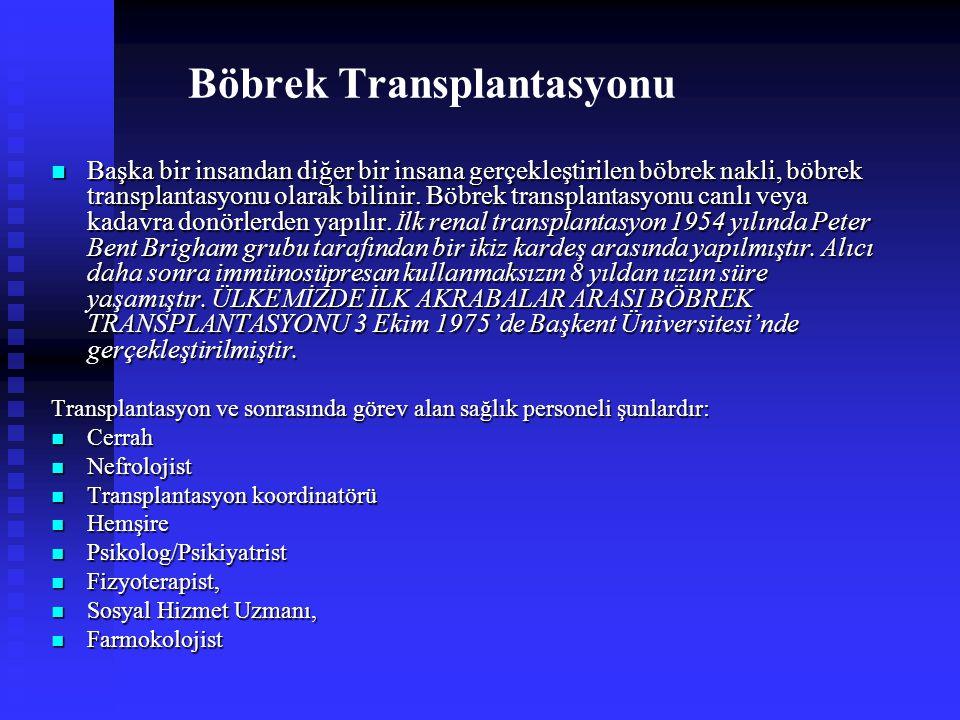 Böbrek Transplantasyonu Başka bir insandan diğer bir insana gerçekleştirilen böbrek nakli, böbrek transplantasyonu olarak bilinir. Böbrek transplantas