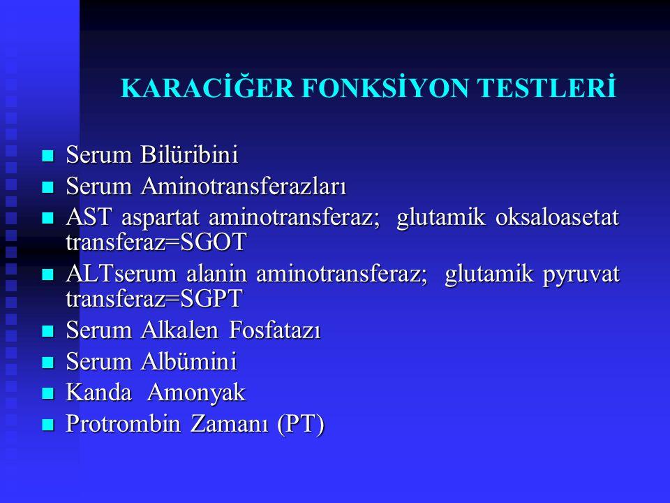 KARACİĞER FONKSİYON TESTLERİ Serum Bilüribini Serum Bilüribini Serum Aminotransferazları Serum Aminotransferazları AST aspartat aminotransferaz; gluta