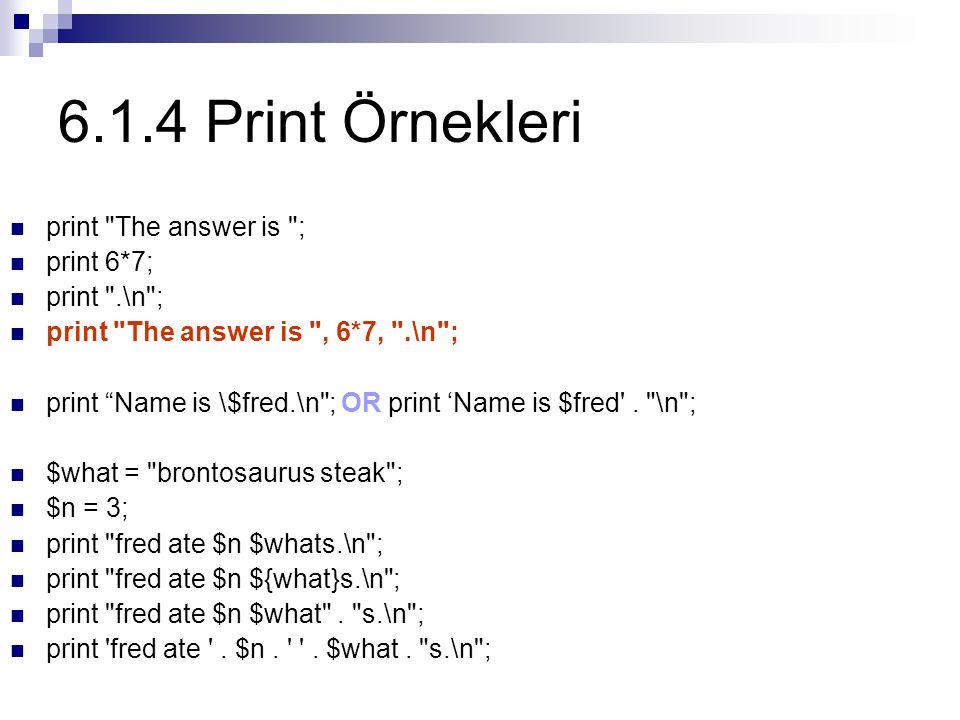 6.1.4 Print Örnekleri print