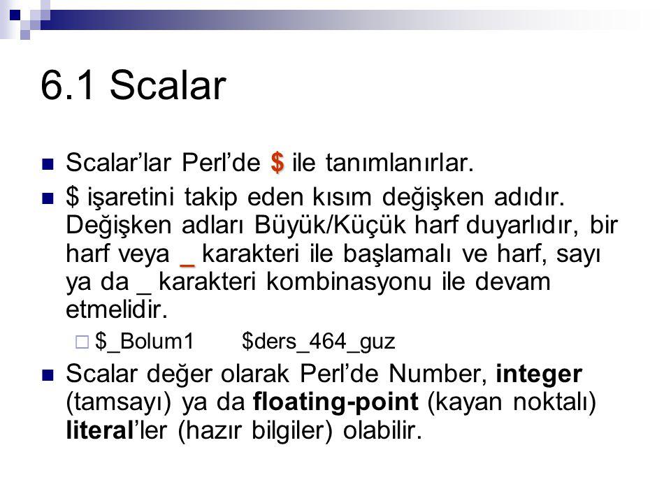 6.1.1 Sayılar Scalar değer olarak Perl'de sayılar integer (tamsayı) ya da floating-point (kayan noktalı) literal'ler (hazır bilgiler) olabilir.