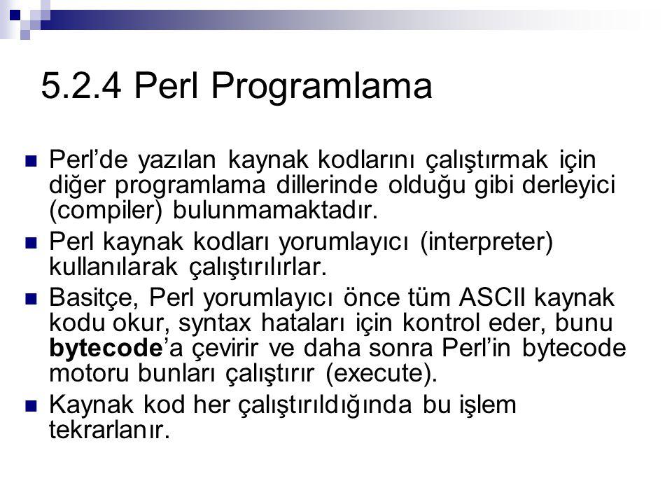 5.2.4 Perl Programlama Perl'de yazılan kaynak kodlarını çalıştırmak için diğer programlama dillerinde olduğu gibi derleyici (compiler) bulunmamaktadır