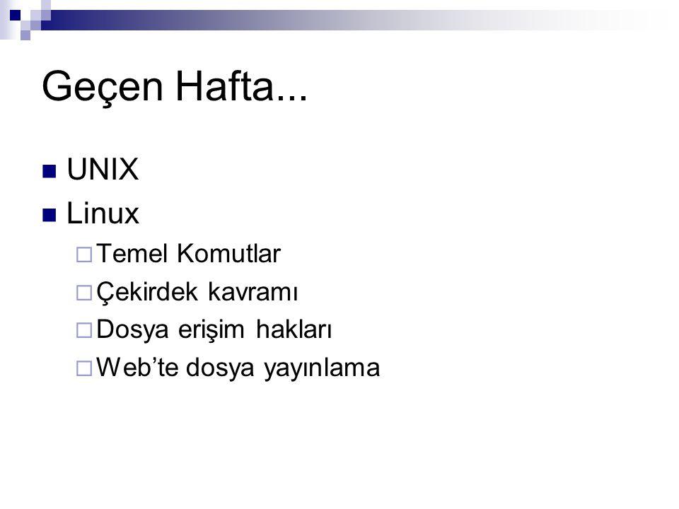 Geçen Hafta... UNIX Linux  Temel Komutlar  Çekirdek kavramı  Dosya erişim hakları  Web'te dosya yayınlama
