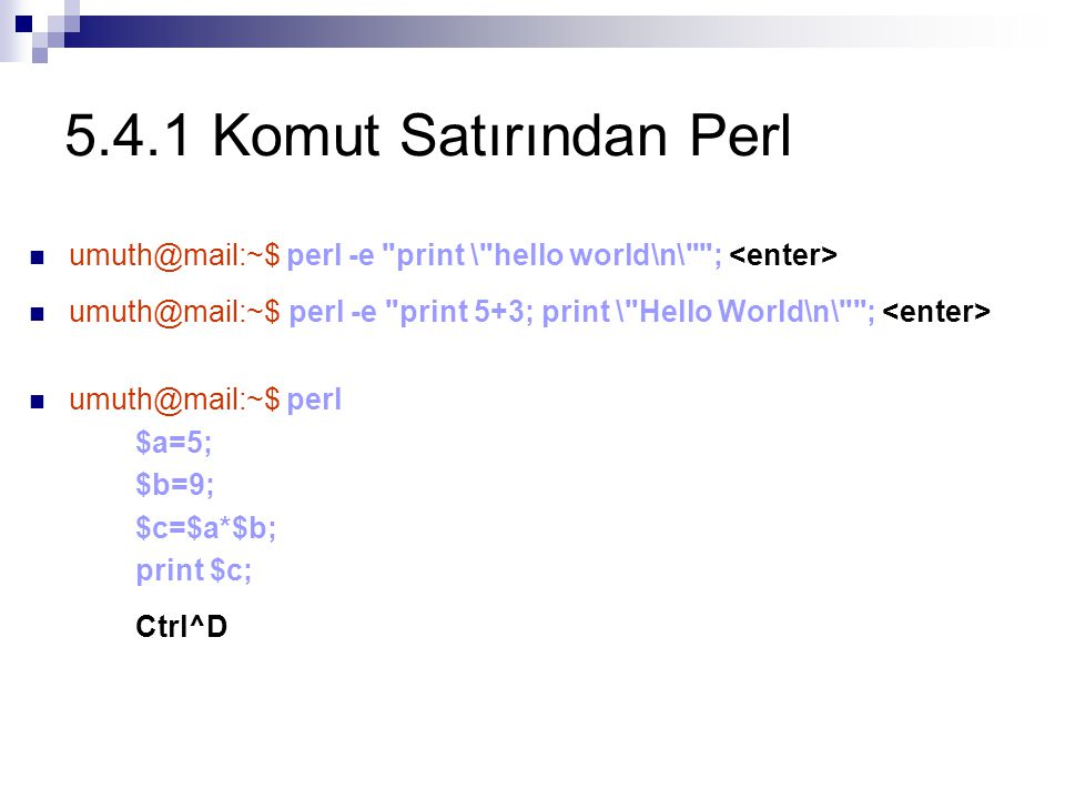 5.4.1 Komut Satırından Perl umuth@mail:~$ perl -e